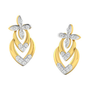 His & Her Fancy Diamond Earrings (T10379), 9k, Gol...