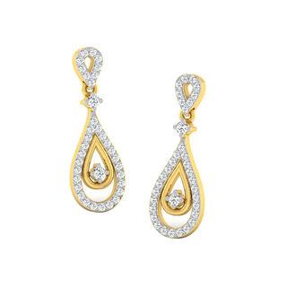 His & Her Fancy Diamond Earrings (T10074), 9k, Gol...