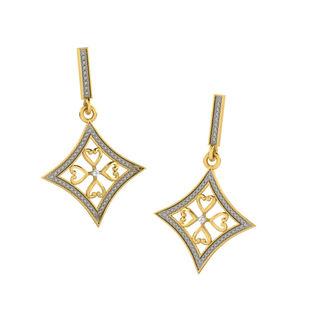 His & Her Fancy Diamond Earrings (T11344), 9k, Gol...