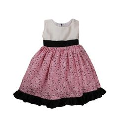 summer white and pink floral printed dress with black satin bottom frills, 6-12months, white and pink
