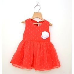 Chiffon pretty red dress with cream corsage, 6-12months, red