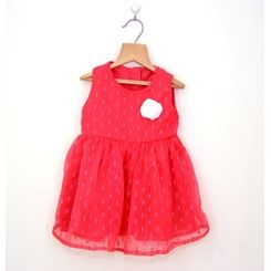 Lavender pretty red dress with cream corsage, 12-18months, lavender