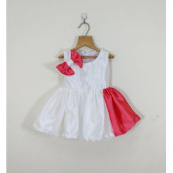 Tiny Toddler White and Pink frock with a side bow, 0-6months, pink & white
