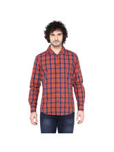 Crosscreek Checked Slimfit Fullsleeve Casual Shirt With Inner Bind At Cuff, xl, orange