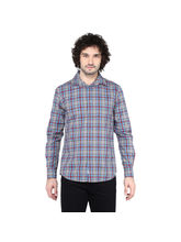 Crosscreek Checked Slimfit Fullsleeve Cotton Causal Shirt With V Shape Single Pocket, s, melange multicolor