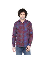 Crosscreek Checke Slimfit Fullsleeve Cotton Causal Double Stitiched Shirt With V Shaped Pocket, m, maroon