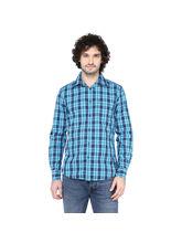 Crosscreek Aqua Checked Slimfit Fullsleeve Casual Shirt With Inner Bind At Cuff, m, aqua