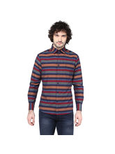 Crosscreek Striped Slimfit Fullsleeve Cotton Causal Shirt With V Shape Single Pocket, m, multicolor