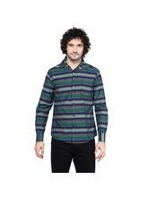 Crosscreek Striped Slimfit Fullsleeve Cotton Causal Shirt With V Shape Single Pocket, l, multicolor