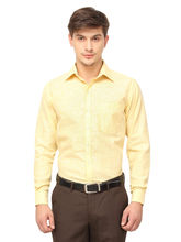 Copperline Striped Slimfit Fullsleeves Cotton Formal Shirts., 38, yellow