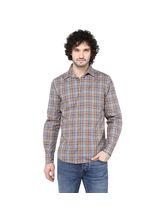 Crosscreek Checked Slimfit Fullsleeve Cotton Causal Shirt With V Shape Single Pocket, xl, melange multicolor