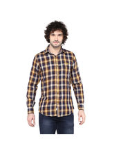 Crosscreek Checked Slimfit Fullsleeve Double Cloth Casual Shirt With Inner Bind In Collar, l, brown