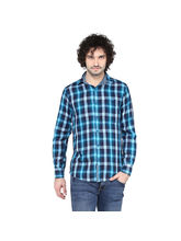 Crosscreek Aqua Checked Slimfit Fullsleeve Double Cloth Casual Shirt With Inner Bind In Collar, m, aqua