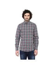 Crosscreek Checked Slimfit Fullsleeve Cotton Causal Shirt With V Shape Single Pocket, m, melange multicolor