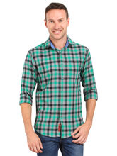 Crosscreek Aqua Checked Slimfit Fullsleeves Cotton Casual Shirt, xl, aqua
