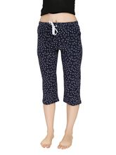 Shappon Solid Cotton Capri With Single Zipper Pocket In Front (12723), xl, navy
