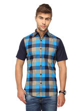 Crosscreek Checked Slimfit Halfsleeve Cotton Causal Shirt With Pocket (1030308), blue, m