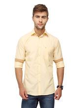 Crosscreek Plain Slimfit Fullsleeve Cotton Causal Shirt With Pocket (1080301), yellow, s