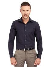 Copperline Solid Fullsleeves Slimfit Cotton Formal Shirt, l, navy