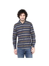Crosscreek Striped Slimfit Fullsleeve Cotton Causal Shirt With V Shape Single Pocket, s, multicolor