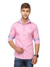 Crosscreek Plain Slimfit Fullsleeve Cotton Causal Shirt (1080311), pink, m