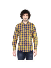 Crosscreek Checked Slimfit Fullsleeve Casual Shirt With Inner Bind At Cuff, l, yellow
