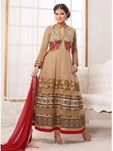 Pure Georgette Cream Floor Length Anarkali