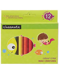 Classmate 12 Colour Wax Crayons 90X11Mm