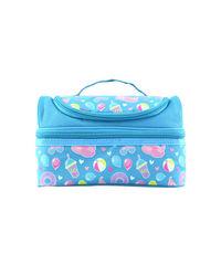 Smily Dual Slot Lunch Bag Light Blue