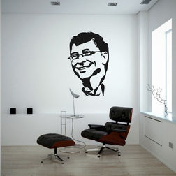 Kakshyaachitra Bill Gates Wall Stickers For Bedroom And Living Room, 48 74 inches