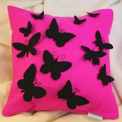Pink Butterfly Cushion Cover MYC-63, pack of 1, pink