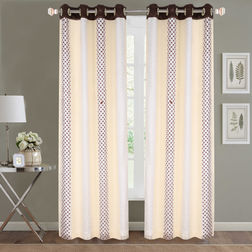Sheer Curtains Dreamscape, Geometric Ivory Sheer Curtains, ivory, door