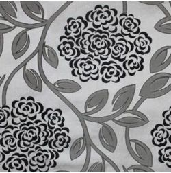 Jewel Floral Readymade Curtain - 37, window, grey