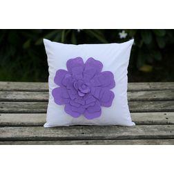 White Flower Cushion Cover MYC-17, pack of 1, white