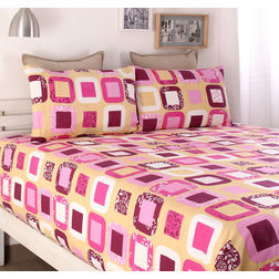 100% Cotton Double Bedsheet Online Sale, 140TC Double Bed Sheet With Pillow Cover, Double Bed Sheets Sale by Home Ecstasy,  pink, double