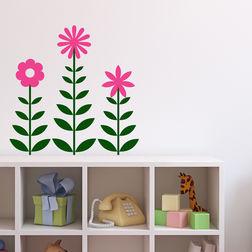 Wall Stickers Chipakk Row Of Flowers Pink