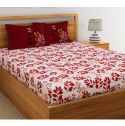 Dreamscape Ethnic Printed Bed sheet with Two Pillowcovers, 100% Cotton 144 Thread Count, double,  maroon