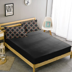 Double Bed Sheet With Two Pillow Covers BS-25, double, black