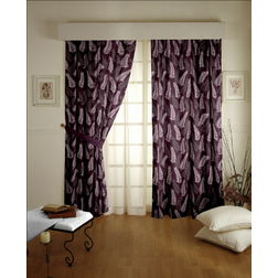 Sonalika Floral Readymade Curtain - 13, door, purple