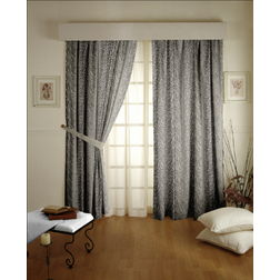 Roseberry Abstract Readymade Curtain - 4, window, grey