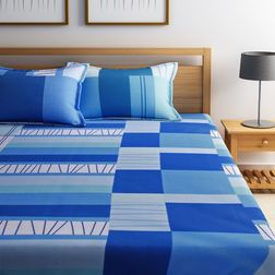 Dreamscape 100% Cotton 144TC One Bed sheet With Two Pillow Covers, blue, double