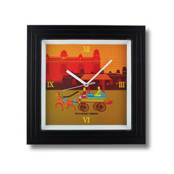 The Elephant Company Gond Art Village Designer Modern Wall Clocks, yellow