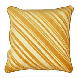 Dreamscape Striped Suede Yellow Cushion Covers, yellow