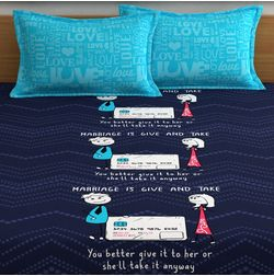 My Room exclusive couple cute bed sheets with funny quotes & characters, 210TC satin premium bedsheets with 2 pillow covers, queen, (MR03), blue, double