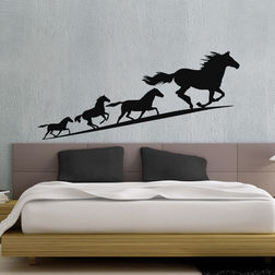 Kakshyaachitra Running Horses Wall Stickers For Kids Room, 48 22 inches