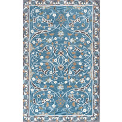 Floor Carpet and Rugs Hand Tufted, The Rug Concept Blue Carpets Online Tbilisi 6051-M, 3ft x 5ft, blue