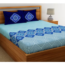 Dreamscape Ethnic Printed Bed sheet with Two Pillowcovers, 100% Cotton 144 Thread Count, double,  blue