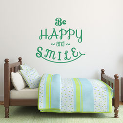 Kakshyaachitra Be Happy and Smile Wall Stickers For Bedroom And Living Room, 24 22 inches