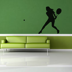 Kakshyaachitra Tennis Ground Stroke Wall Stickers For Bedroom And Living Room, 48 42 inches