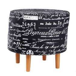 Calligraphy Print Ottoman Designer Stool-BB-48, black